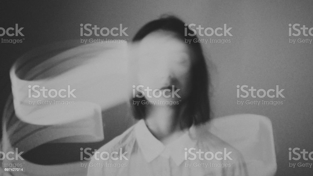 Young esoteric relaxing girl with light aura. Virtual reality fantasy art. - Royalty-free Alertness Stock Photo