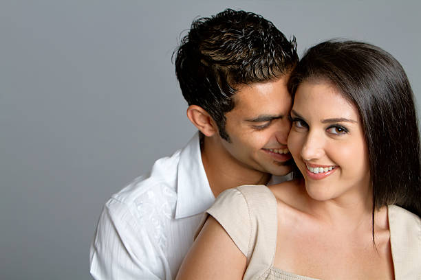 Young ethnic couple in love stock photo
