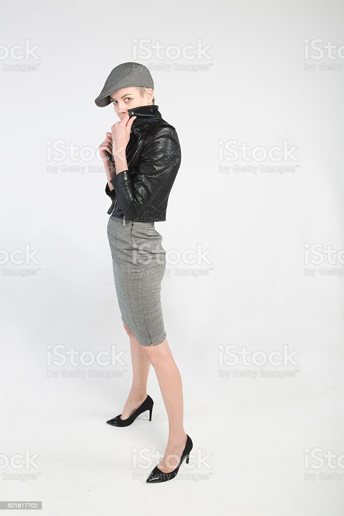 young european woman posing with leather jacket  at istanbul turkey stock photo