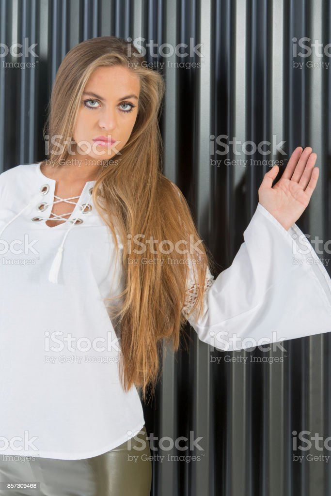 Young european woman posing with shick cloth at studio in istanbul turkey stock photo