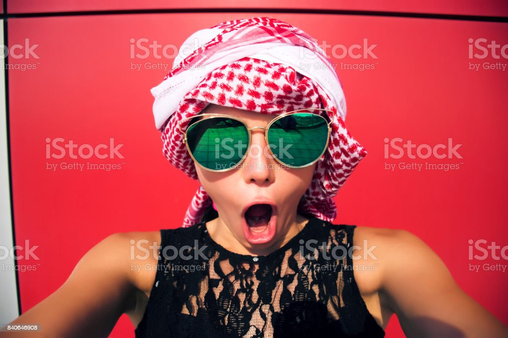 Young excited woman stock photo