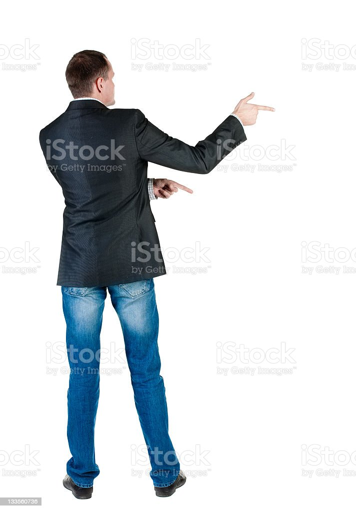 young expert looks ahead. rear view. royalty-free stock photo