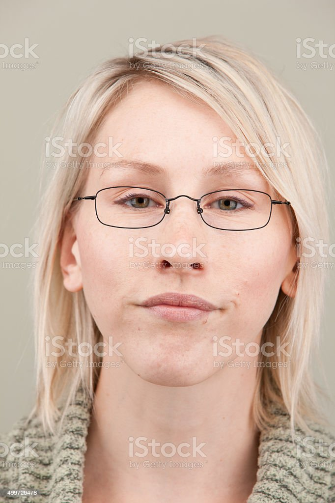 b96f6b14f Young Expressive Blonde Woman With Short Hair And Glasses Stock ...