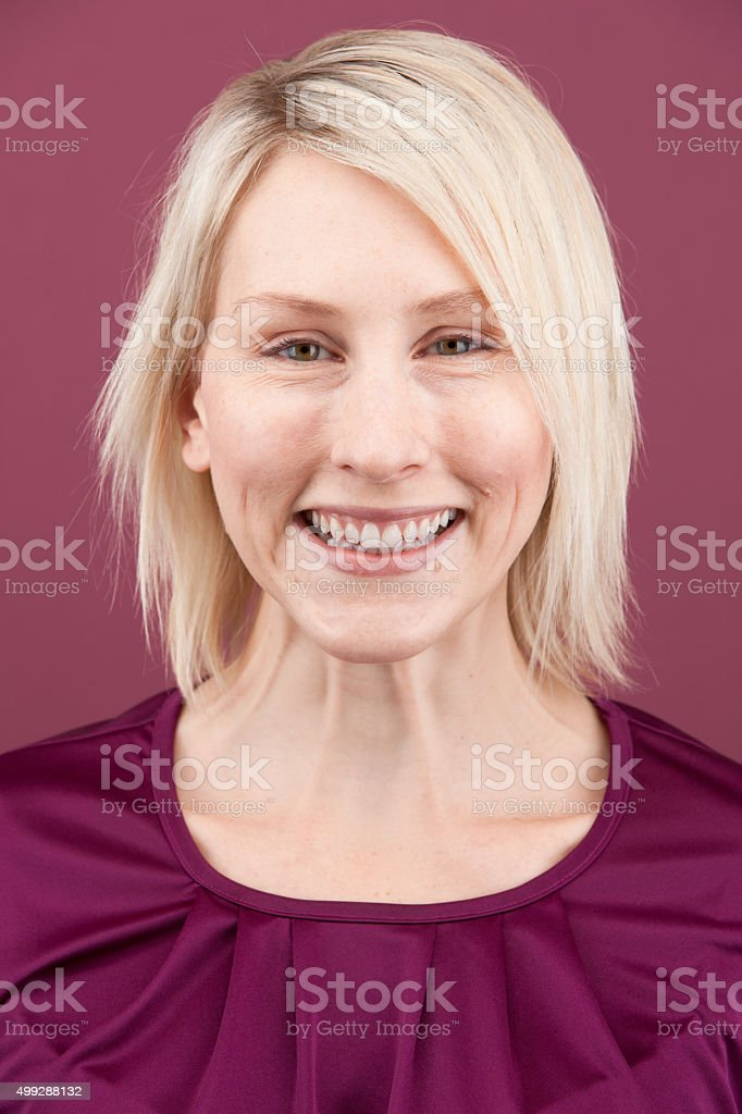 a3b7e8fb0 Young Expressive Blonde Woman With Short Hair Stock Photo & More ...