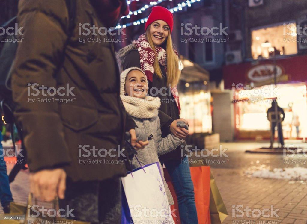 Family enjoying a shopping during Christmas
