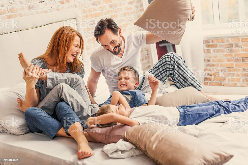 Young family being playful at home royalty-free stock photo