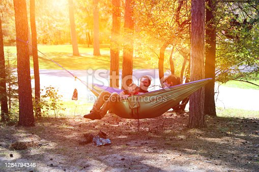 Young family camping in a state park.