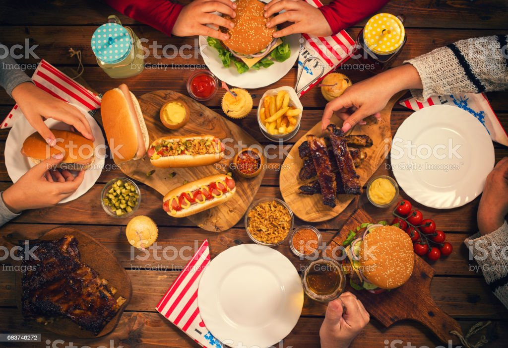 Young Family Celebrating 4th of July stock photo