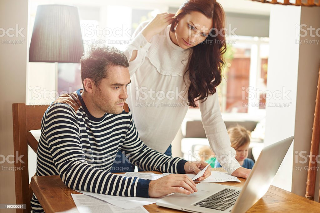 young family debt worries stock photo