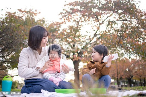 Young family doing picnic in public park