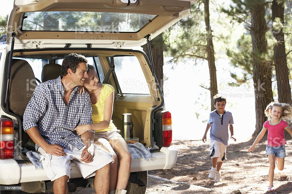 Young family on day out in country stock photo