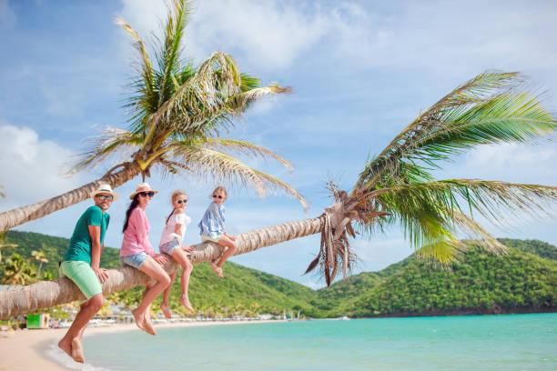 junge familie im urlaub haben eine menge spaß auf palme - urlaub in kuba stock-fotos und bilder