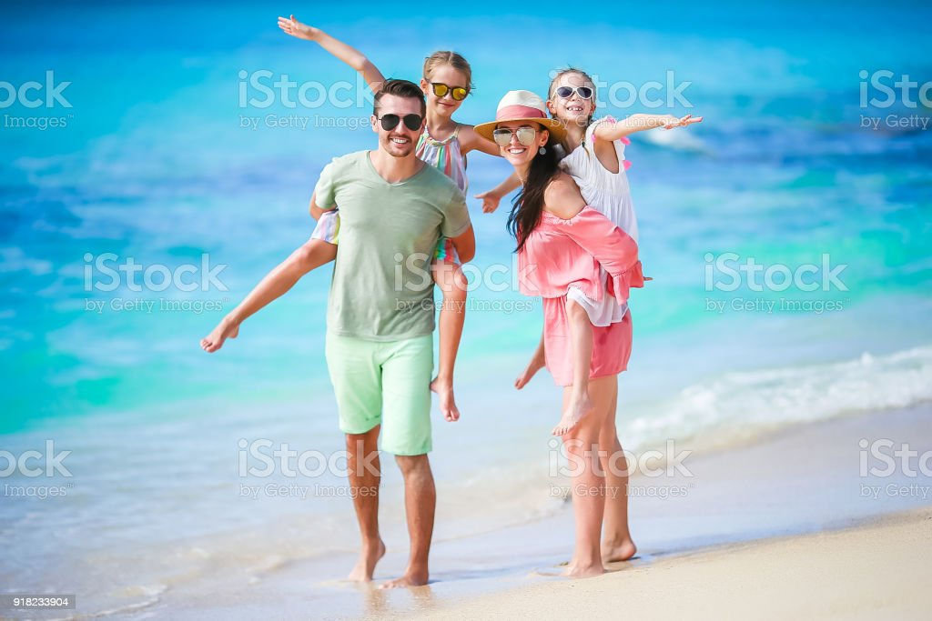 Young family on vacation have a lot of fun together royalty-free stock photo