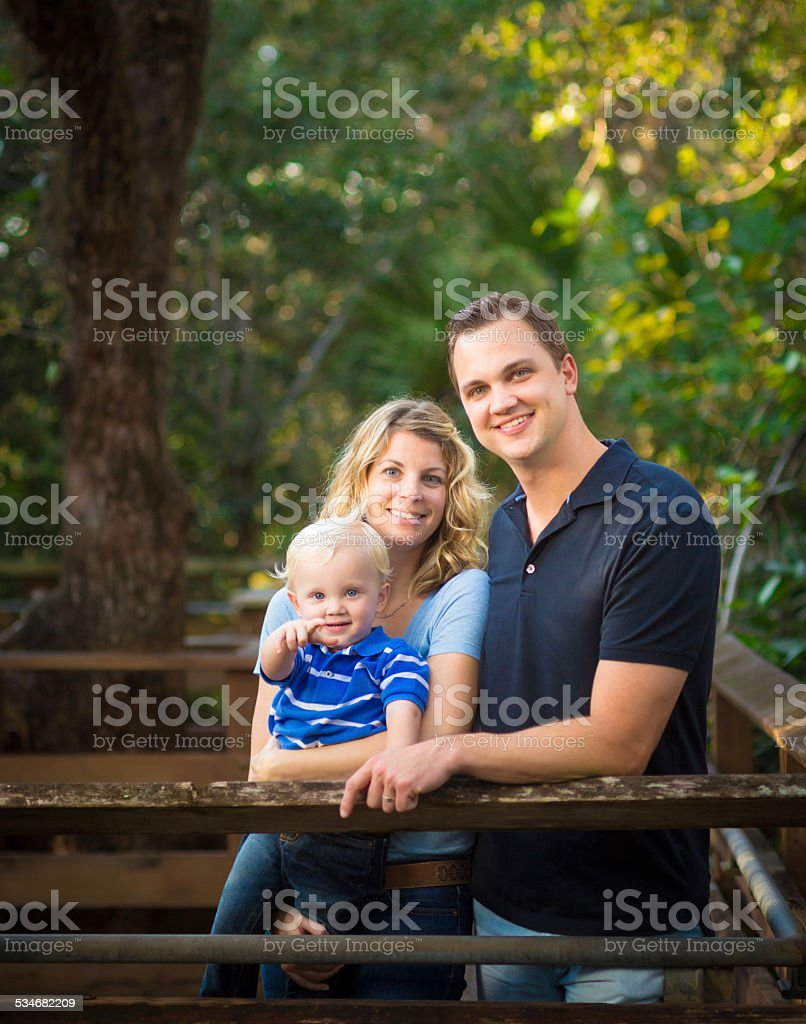 Young Family outdoors stock photo