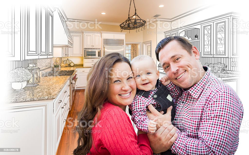 Young Family Over Custom Kitchen Design Drawing and Photo Combin stock photo