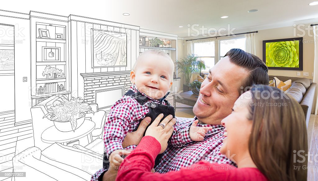 Young Family Over Living Room Design Drawing Photo Combination stock photo