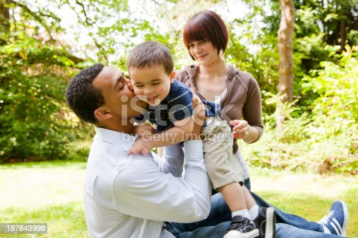 istock Young Family Playing in The Park 157643998
