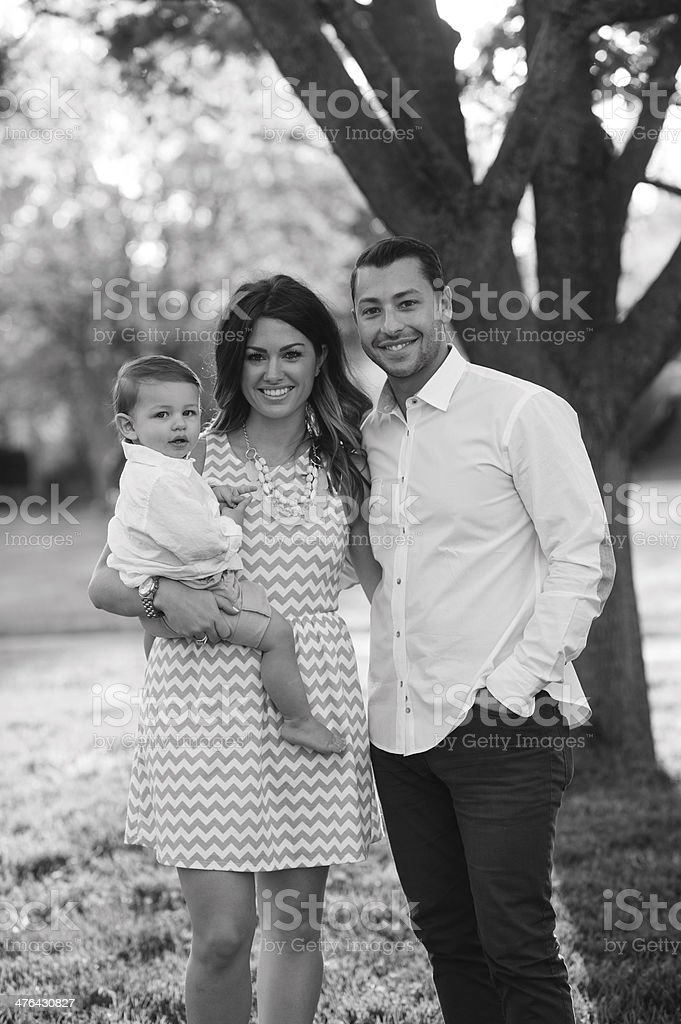 Young Family Standing Outside royalty-free stock photo