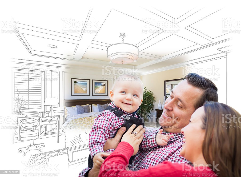 Young Family With Baby Over Bedroom Drawing and Photo stock photo