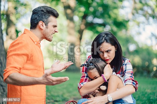 Family having a conflict in the city park