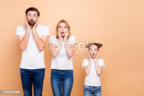 Young family with daughter, parents spouses and their little daughter placing hands to thier faces to show surprising, standing in order to hierarchy