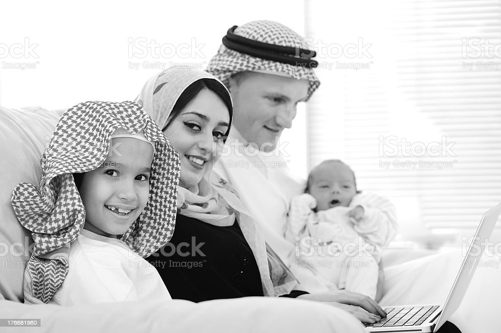 Young family with new baby at home royalty-free stock photo