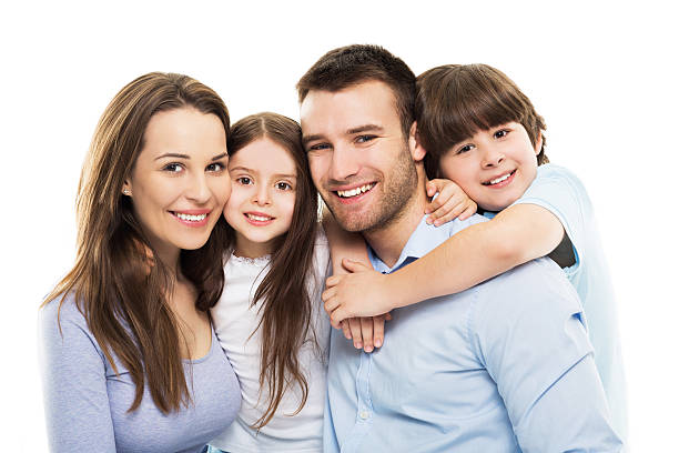 young family with two kids - four people stock photos and pictures