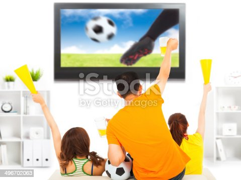 istock young fans watching soccer game and yelling 496702063