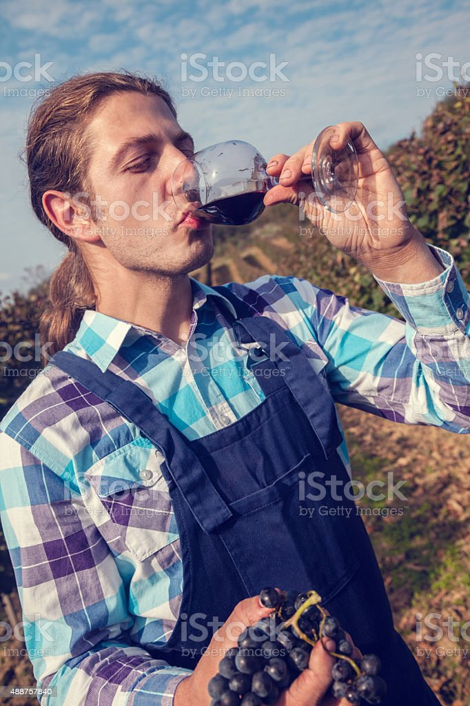 Young Farmer Drinking Wine stock photo