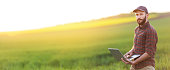 Unrecognizable young farmer using laptop on field. Panoramic view of farmer standing in field.