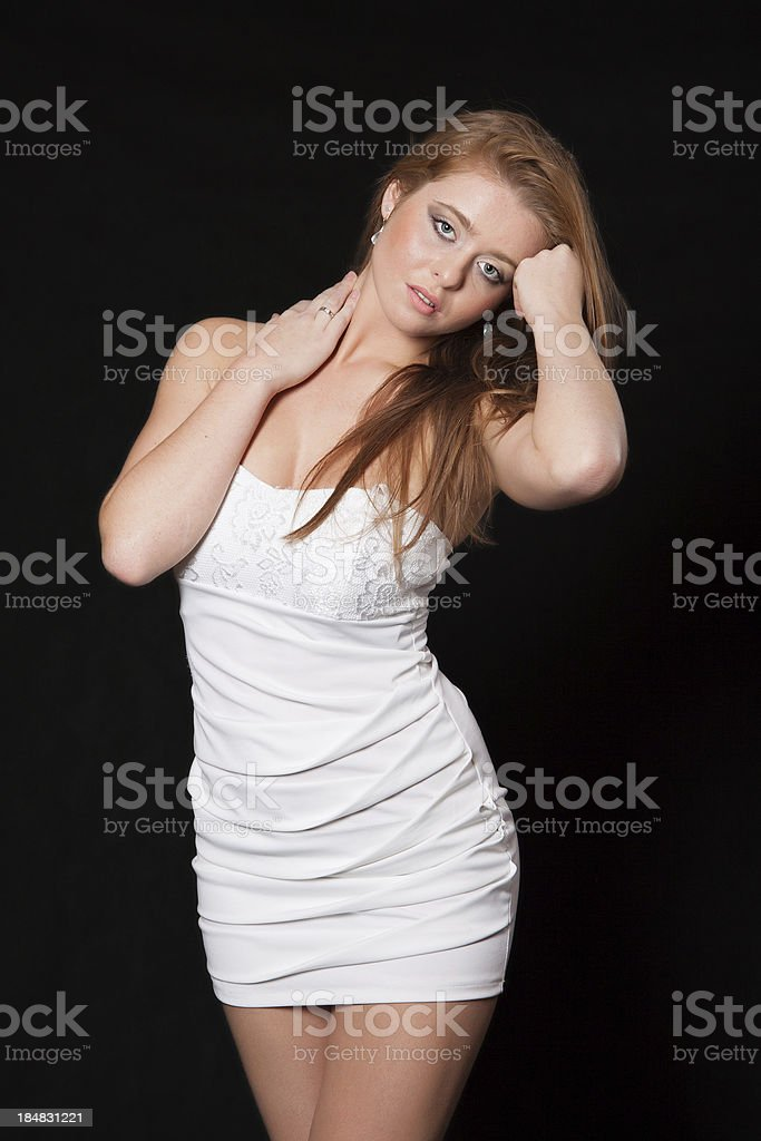 Young fashion model with a dreamy look royalty-free stock photo