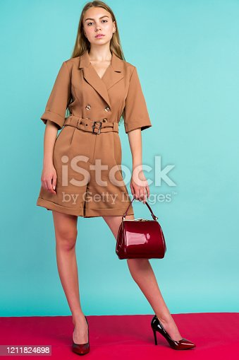 539468216 istock photo Young fashion woman hold handbag clutch isolated on blue background 1211824698