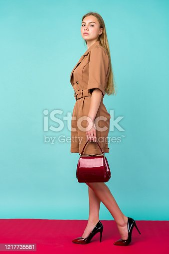 539468216 istock photo Young fashion woman hold handbag clutch isolated on blue background 1217735581