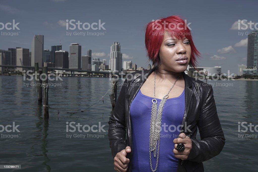 Young fashionable black woman by the bay royalty-free stock photo