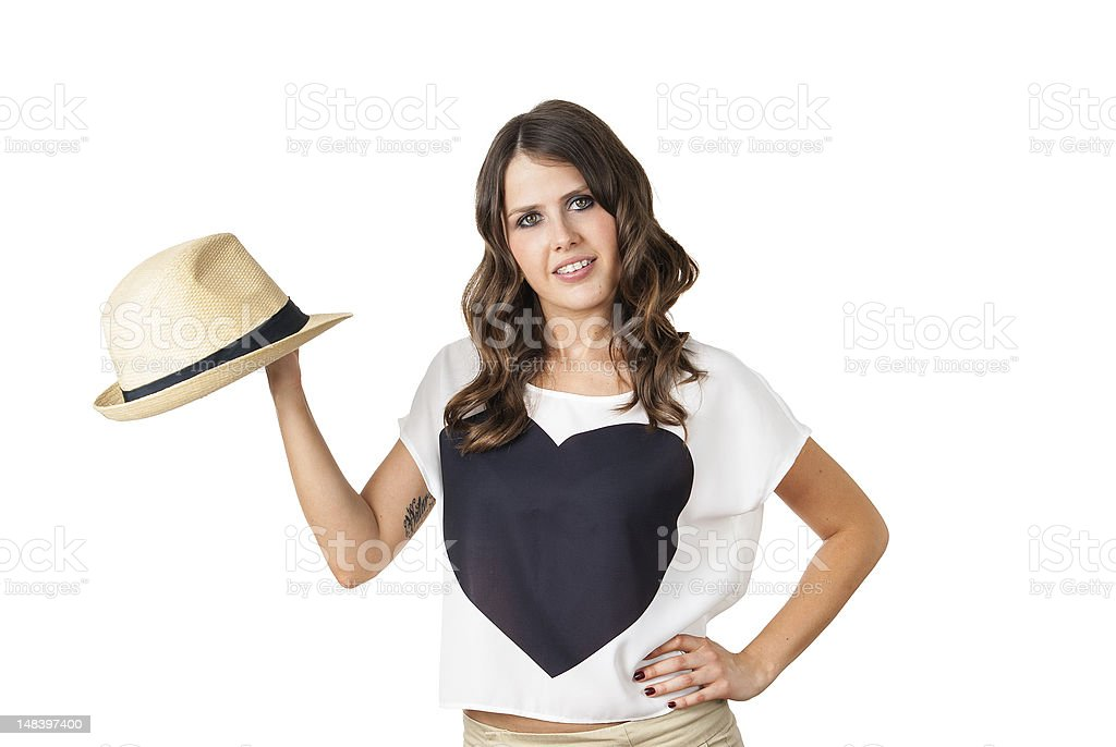 young fashionable brunette with a stylish hat royalty-free stock photo