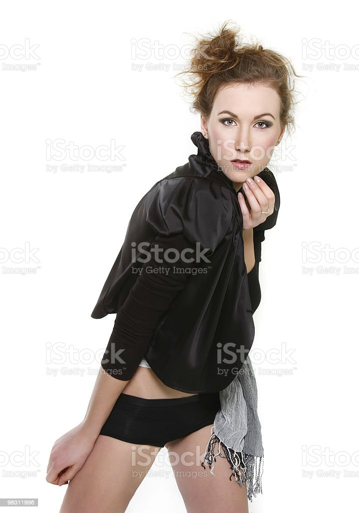 young fashionable woman over white royalty-free stock photo