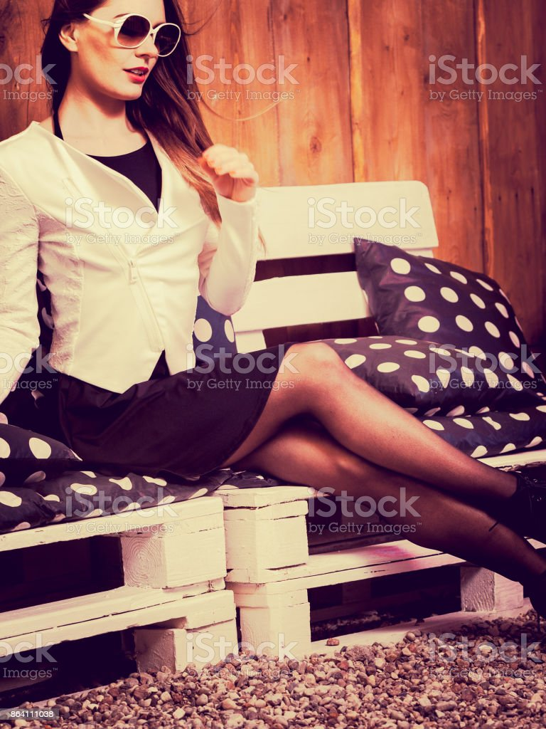 Young fashionable woman posing during sunny day. royalty-free stock photo