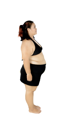 Young Fat Woman Standing In The Studio Stock Photo - Download ...