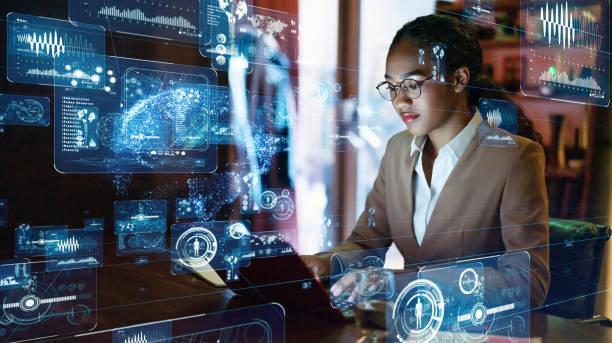 joven concepto de ingeniero femal e. gui (interfaz gráfica de usuario). - ingeniero fotografías e imágenes de stock