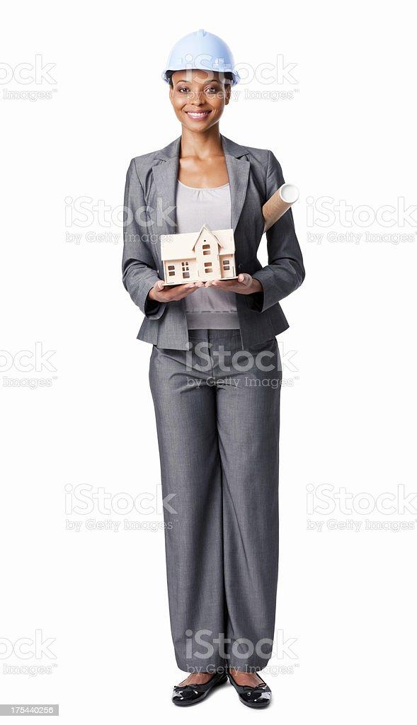 Junge weibliche Architekt mit Architekturmodell-isoliert – Foto