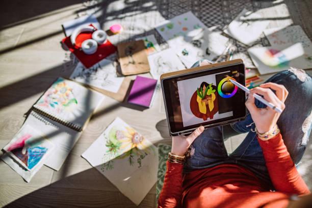 年輕女演出者製作新設計 - 藝術行業 個照片及圖片檔