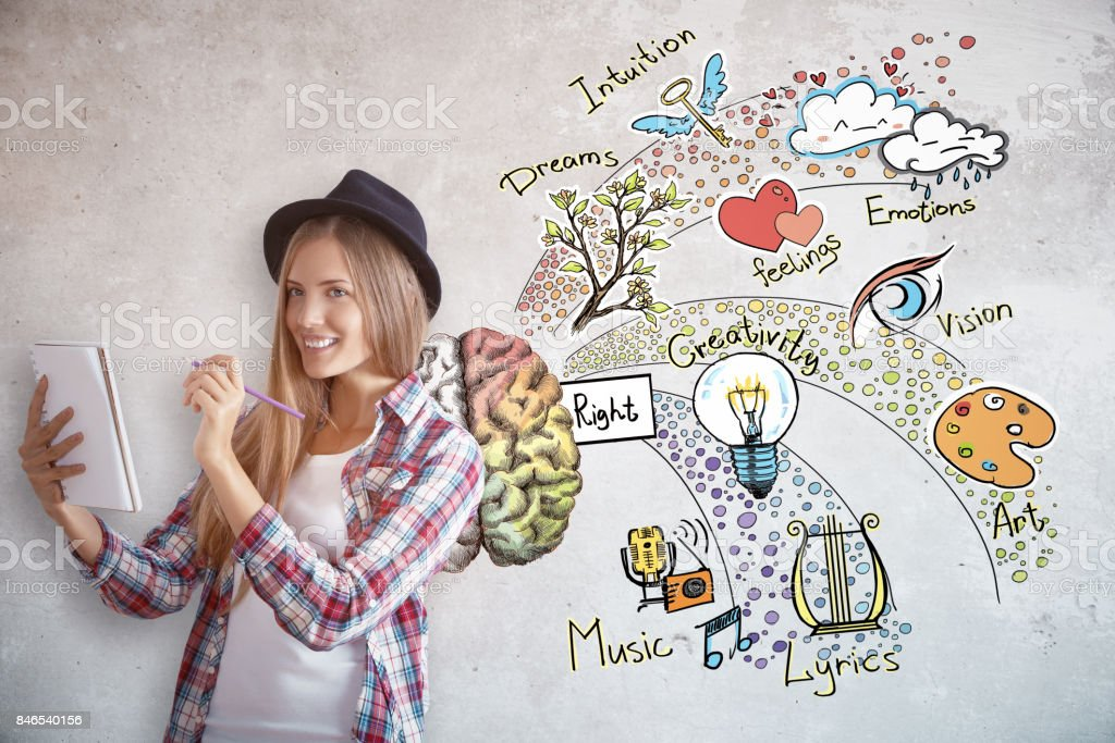 Young female artist with brain sketch stock photo