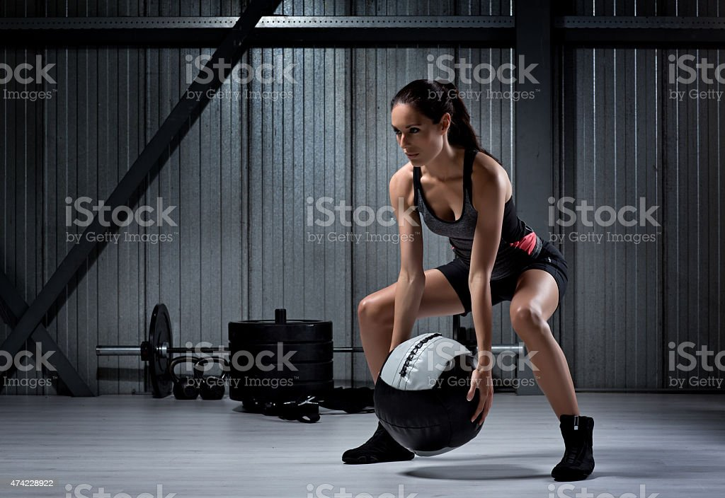 Young female at a gym stock photo