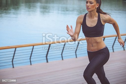 494003079istockphoto Young female athlete jogging on the waterfront 542723998