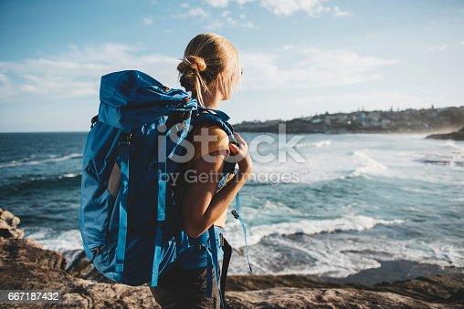 istock Young female backpacker 667187432