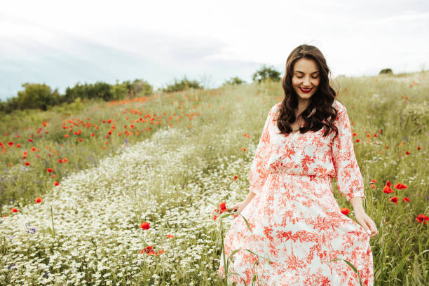 Young female beauty in the white fields of chamomile stock photo