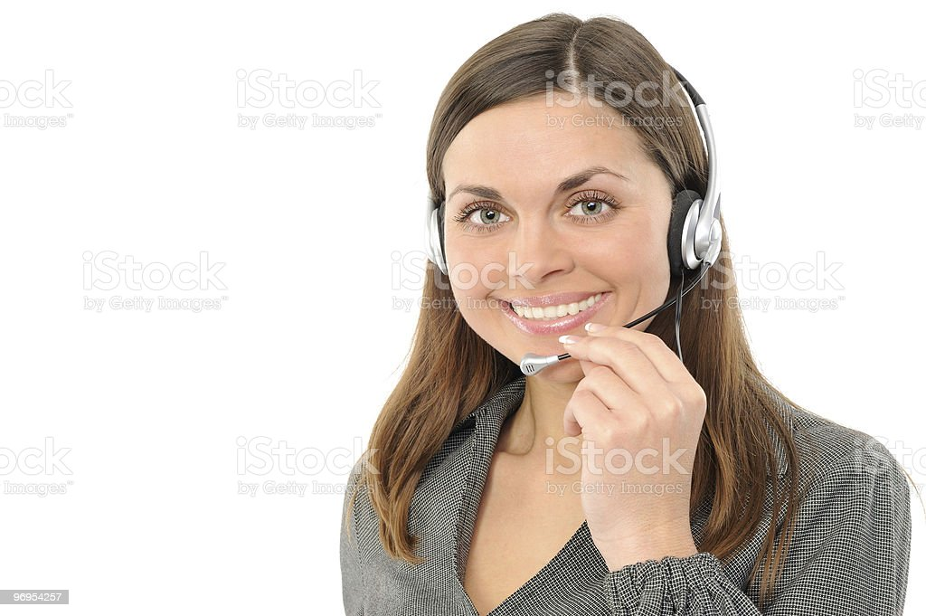 Young female customer service representative in headset. royalty-free stock photo
