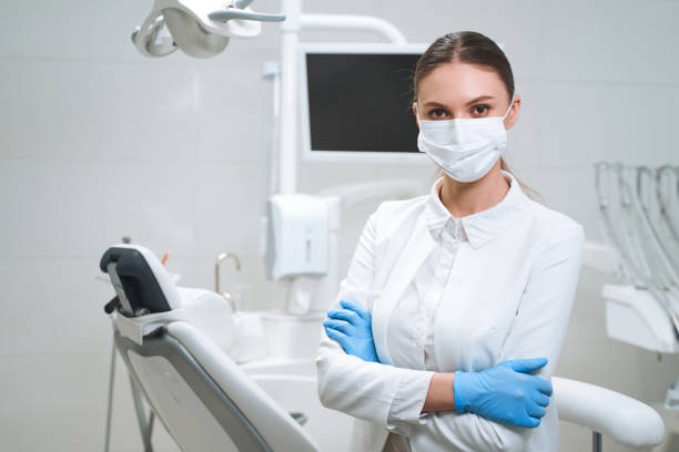 Young female dentist in clinic stock photo stock photo