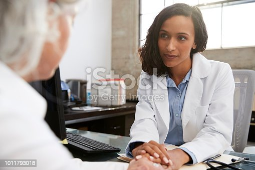 istock Young female doctor in consultation with senior patient 1011793018