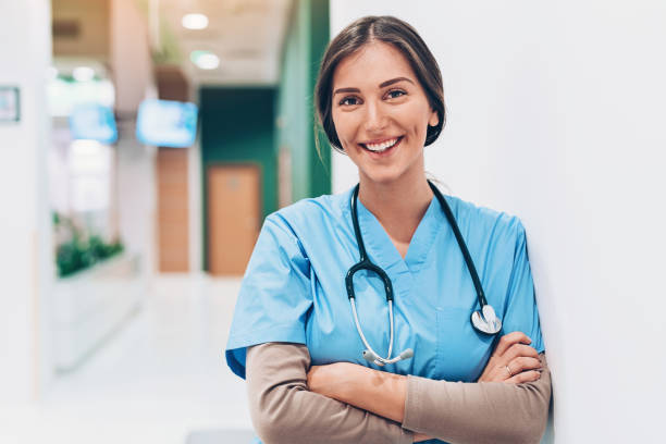 Young female doctor in the hospital stock photo